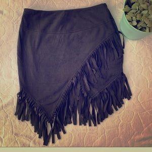Dresses & Skirts - Black suede fringe skirt stagecoach